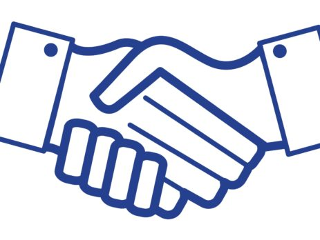 blue handshake icon